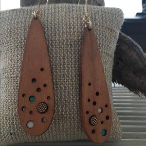 Walnut wood teardrop earrings